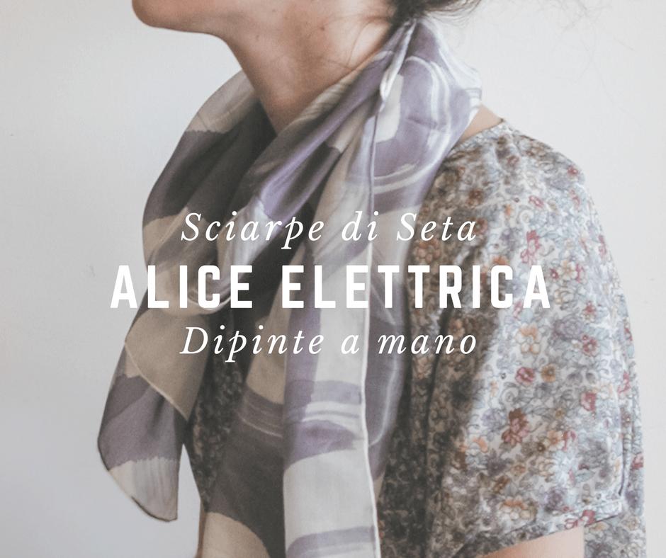 Alice elettrica sciarpe di seta dipinte a mano