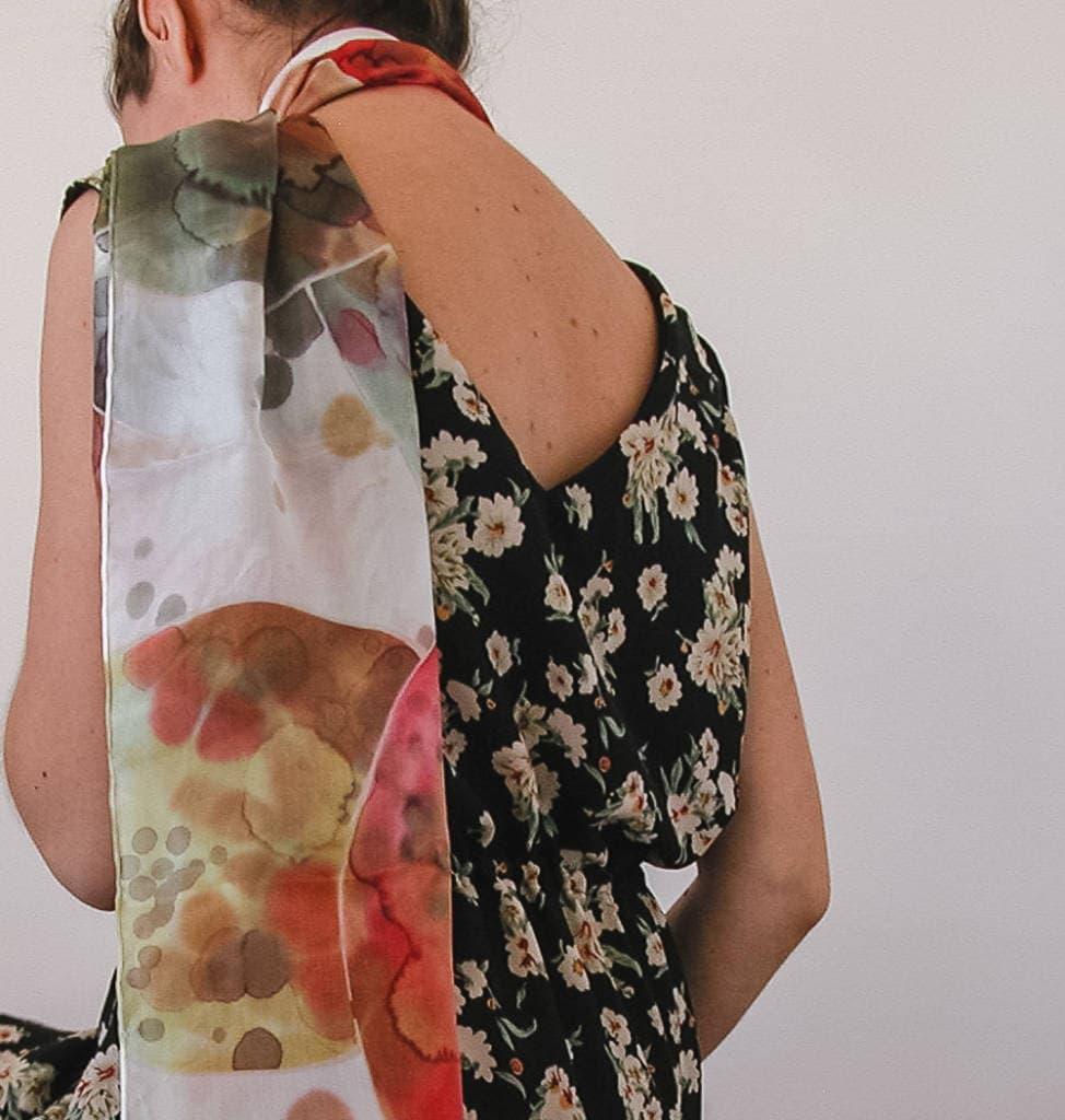 Sciarpa di seta dipinta a mano - AliceElettrica