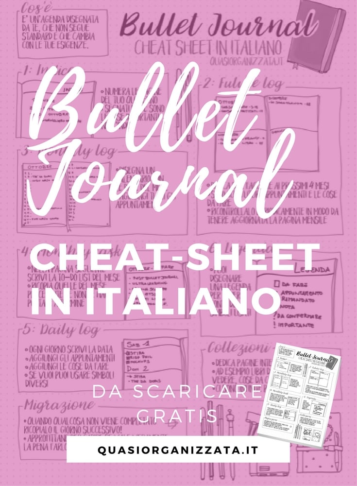 bullet journal cheat-sheet in italiano