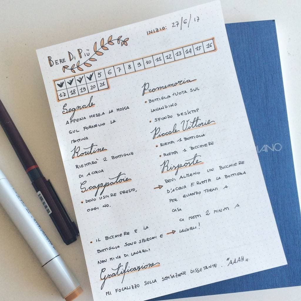 Creare nuove abitudini sul bullet journal | buone abitudini | bullet journal idee