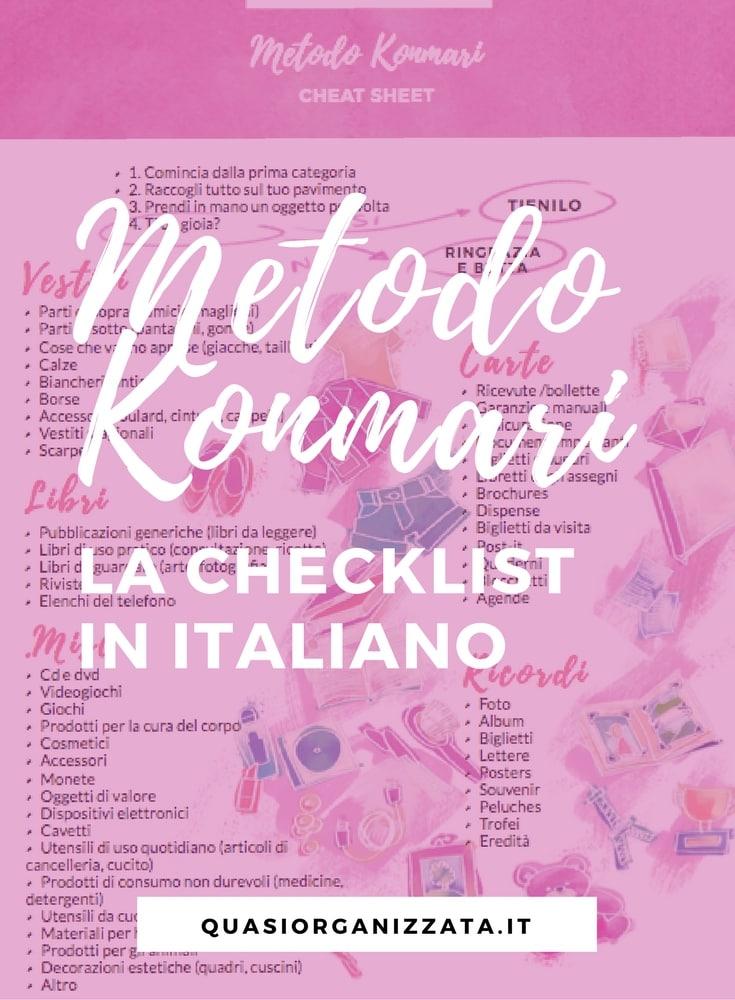 Marie Kondo un anno dopo - la checklist in italiano - konmari decluttering