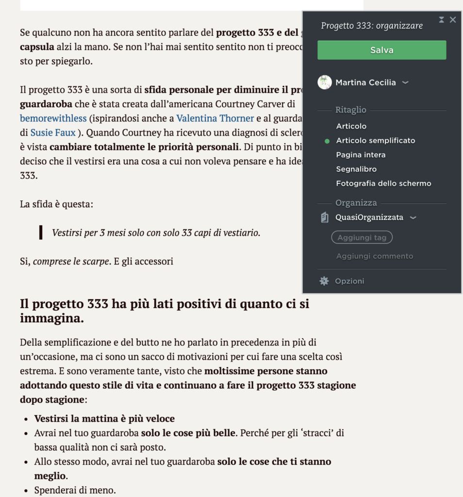 il metodo GTD - Evernote clipper