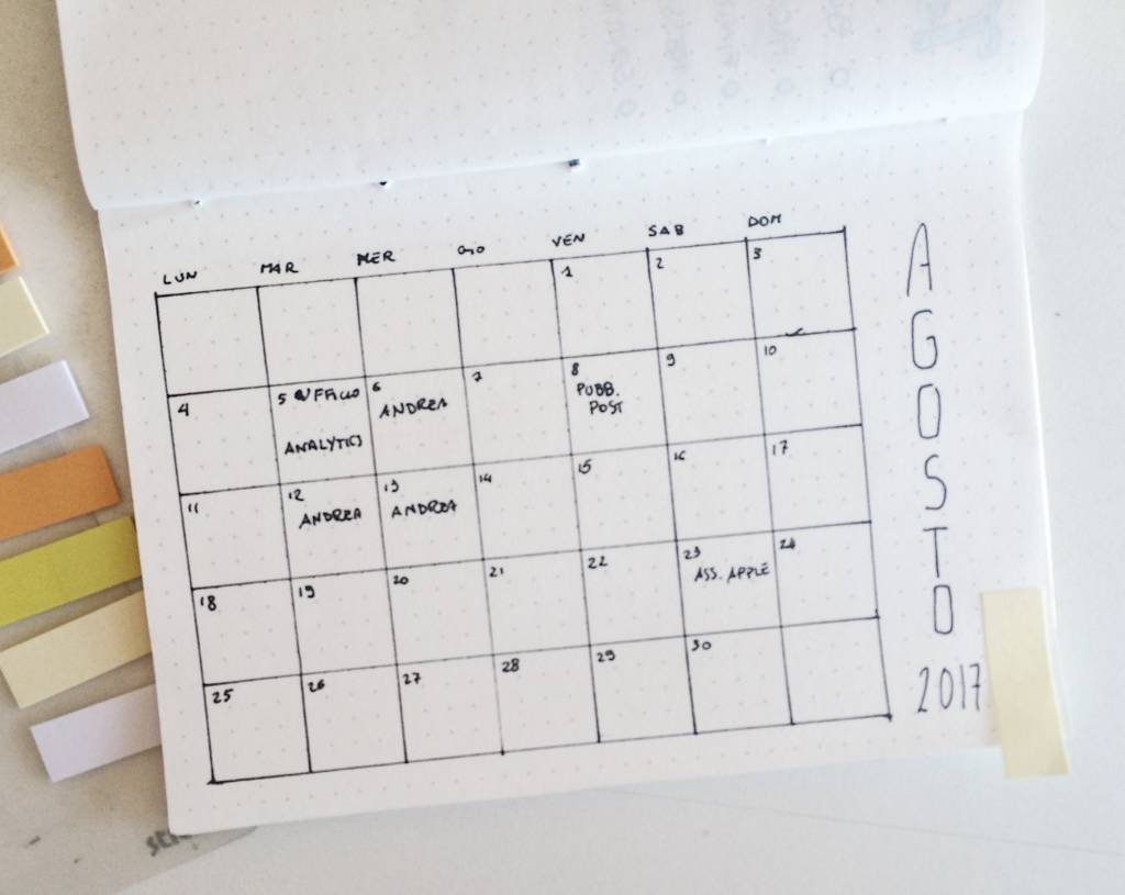 il metodo gtd sul bullet journal - monthly log