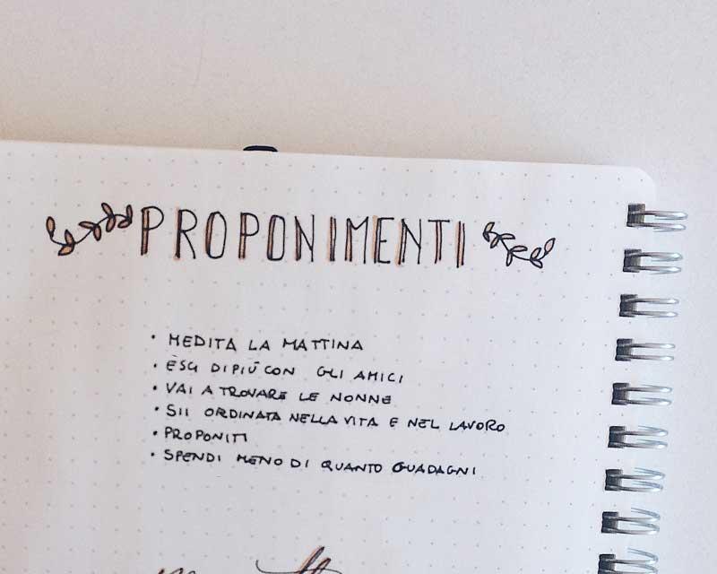 5 pagine da avere nel bullet journal - proponimenti