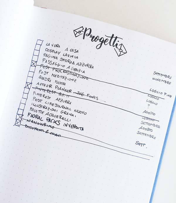 Il mio nuovo bullet journal - progetti #bulletjournalitalia #quasiorganizzata