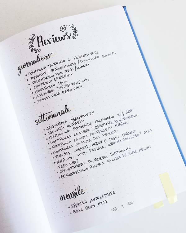 Il mio nuovo bullet journal - Revisioni! #quasiorganizzata